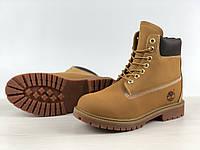Ботинки зимние мужские в стиле Timberland Waterproof код товара 4S-1167. Рыжие