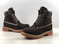 Ботинки зимние мужские в стиле Timberland код товара 4S-1163. Коричневые