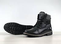 Ботинки зимние мужские в стиле Timberland, натуральный мех, натуральный мех код 4S-1174. Черные