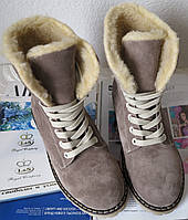 Зимние замшевые стильные женские сапоги ботинки Timberland, фото 1