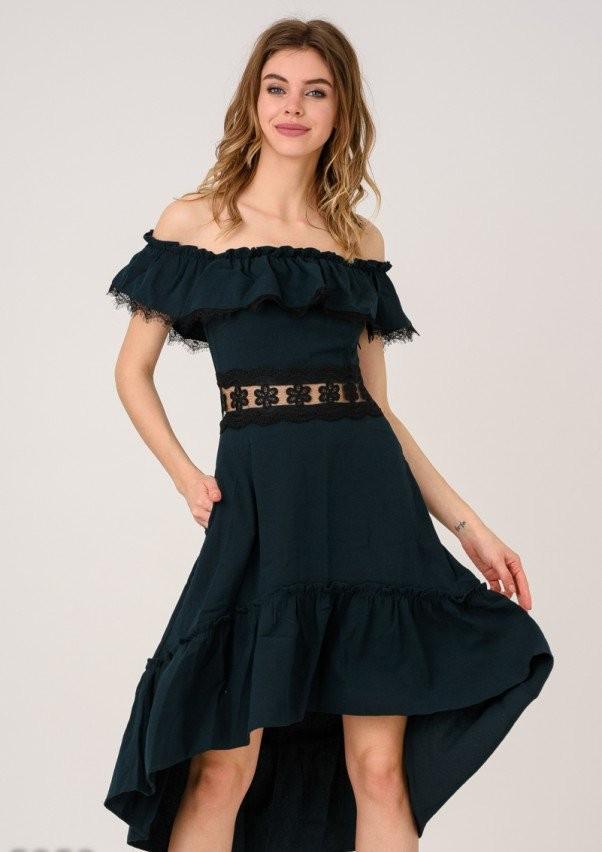 c1178d3925e20a2 Серо-зеленое платье с открытыми плечами ISSA PLUS 5253 - купить по ...