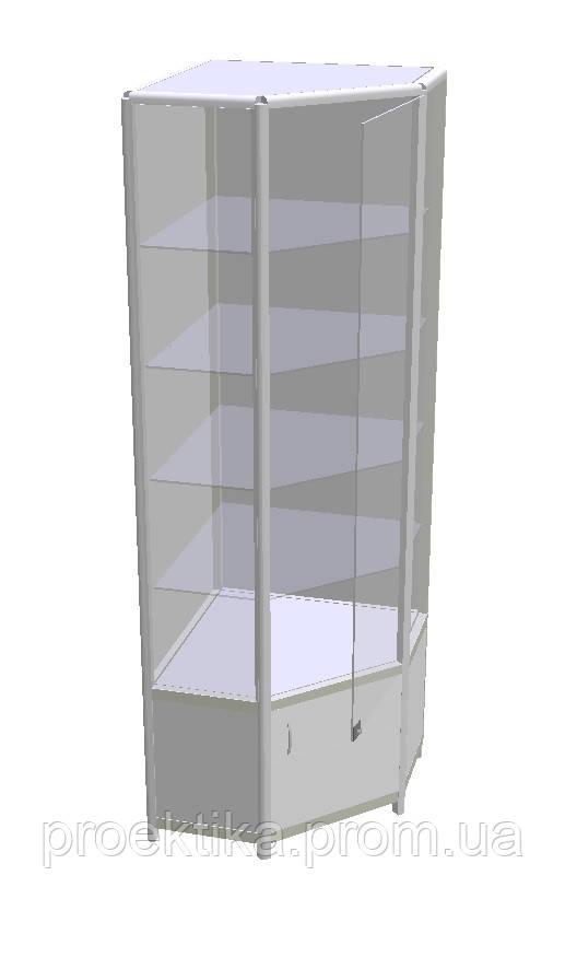 Витрина угловая стеклянная из алюминиевого профиля, фото 1
