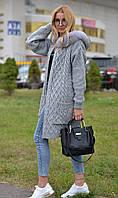 Модный кардиган женский с натуральным мехом финского песца 18-207/1, фото 1
