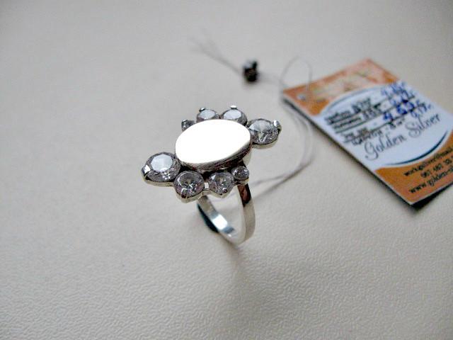 Серебряное кольцо с золотыми вставками 4.69 г. 17 р. СЕРЕБРО 875* + ЗОЛОТО 585*