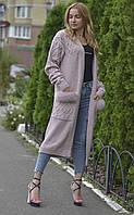 Кардиган женский длинный с натуральным мехом финского песца 18-203, фото 1