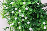 Ветка зелени декоративная пластиковые ягодки и самшит 10 шт., фото 2