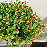 Ветка зелени декоративная пластиковые ягодки и самшит 10 шт., фото 7