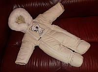 """Зимний человечек """"Кошечка"""" на овчине на выписку из роддома для девочки. Размер 0-6 мес. Кремовый"""