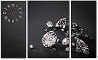 "Часы картины на холсте ""Алмазы"" 110х70 см. 3 модуля"