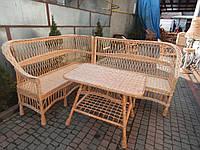 Плетеный угловой набор мебели из лозы