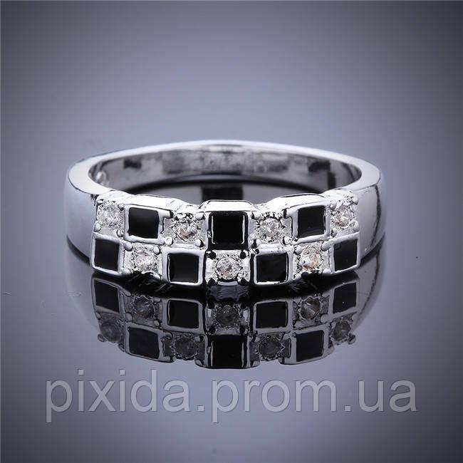 Кольцо клеточка эмаль фианиты 925 серебро проба