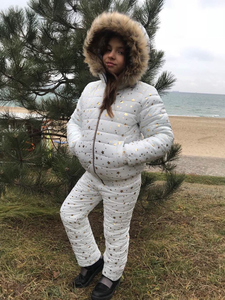 Детский зимний теплый костюм куртка+брюки плащевка синтепон 250 подкладка мех рост:116,122,128