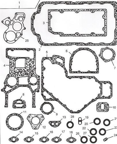 U5LB1164/U5LB0151 Комплект прокладок нижний Perkins