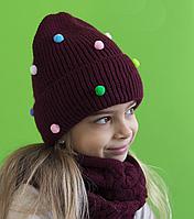 Зимняя шапка для девочки с помпонами Шарики, бордо (ОГ 52-56)