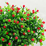 Ветка зелени декоративная пластиковые ягодки и самшит 10 шт., фото 9