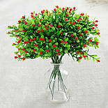 Ветка зелени декоративная пластиковые ягодки и самшит 10 шт., фото 3