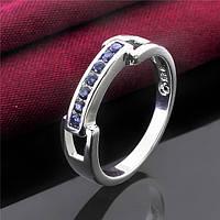 Кольцо синий хрусталь покрытие 925 серебро проба