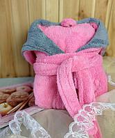 Халат махровый женский нежно-розовый  длинный с капюшоном