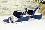 Женские синие босоножки на удобной платформе, натуральная кожа и замша. 37 размер, фото 3