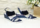Женские синие босоножки на удобной платформе, натуральная кожа и замша. 37 размер, фото 4