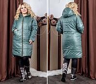 2310be108a29 Женская зимняя куртка на змейке с капюшоном, большой размер зеленый