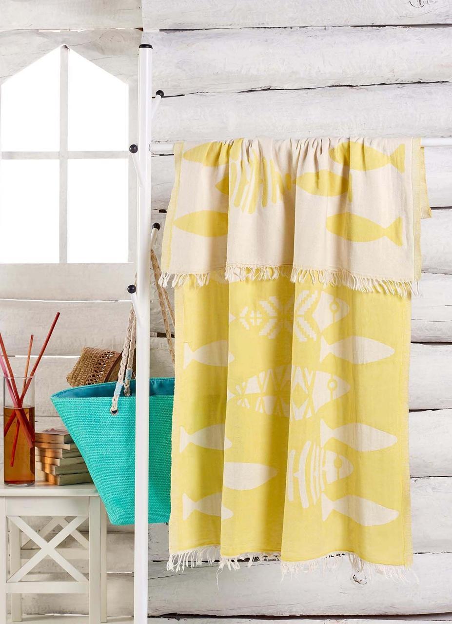 Полотенце-пештемаль пляжное Balik 100х180 желтый Eponj Home