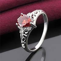 Перстень красный циркон покрытие 925 серебро проба