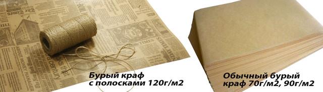 крафт бумага бурая, коричневый крафт, крафт в полоску