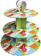 Стенд трёхъярусный картонный круглый для капкейков зелёного цвета (шт)