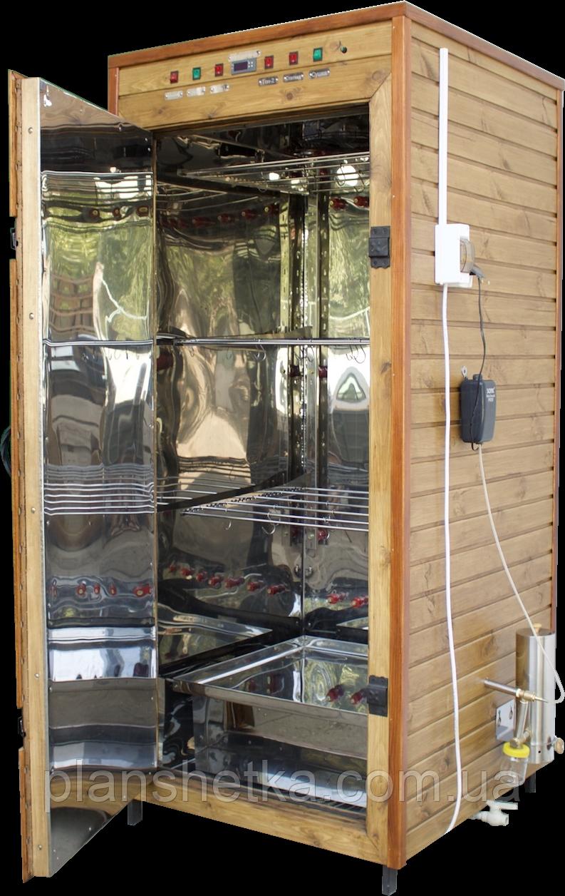 Электростатическая Коптильня 1300л холодного и горячего копчения + просушка (Нержавейка внутри, крыша плоская)