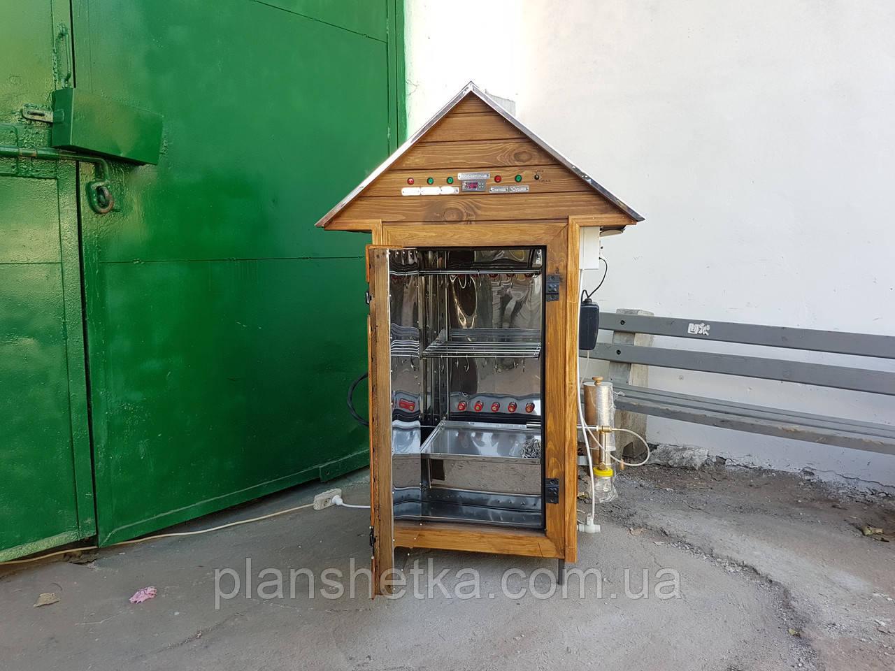 Электростатическая Коптильня 250 л холодного и горячего копчения + просушка (нержавейка внутри, крыша домиком