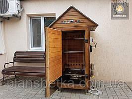 Коптильня 550л холодного и горячего копчения + просушка (Ольха внутри, крыша домиком)