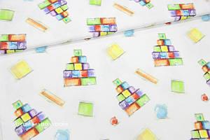 Ткань премиум сатин Кубики