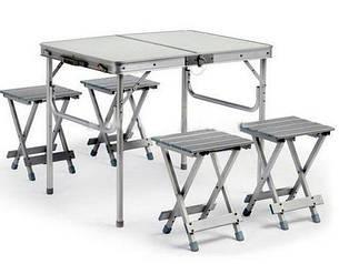 Алюминиевый стол чемодан + 4 стульчика 100 х 69 х 72 см