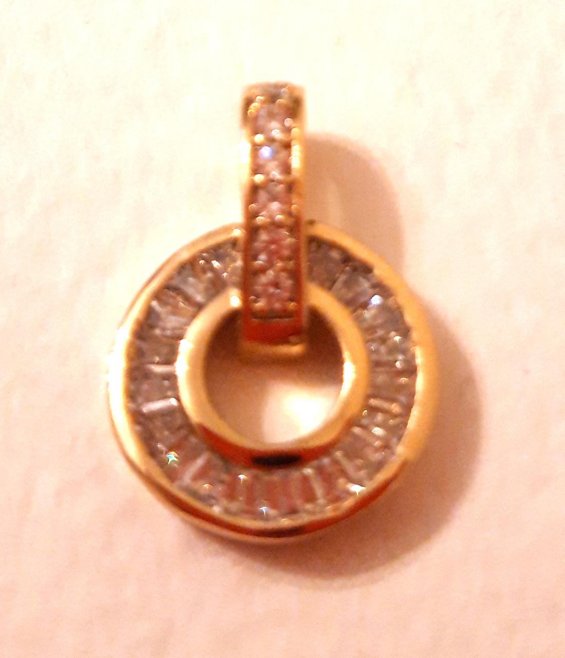 Кулон шайба с цирконами, позолота 18 К, Xuping