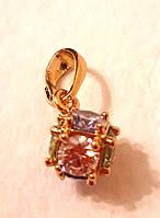 Кулон разноцветные фианиты, позолота 18 К, Xuping