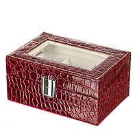 Шкатулка для хранения часов и украшений, бордо, с окошком, 16Х10Х6 см.