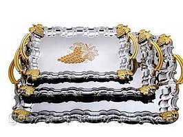 Поднос прямоугольный оцинкованный с ручками золотого цвета виноград набор 3 шт