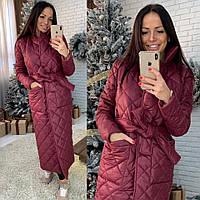 Женское стеганное зимнее пальто под пояс в расцветках 50246