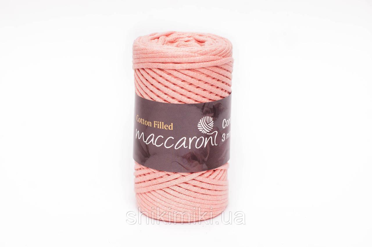 Трикотажный хлопковый шнур Cotton Filled 3 мм, цвет Персиковый