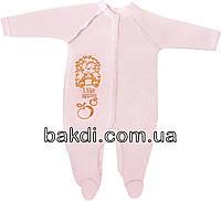 Детский тёплый человечек с начёсом рост 74 6-9 мес интерлок розовый на девочку слип для новорожденных малышей Р463