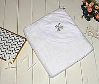 Махровая белая крыжма-полотенце с уголком для крещения (купания) малышей.