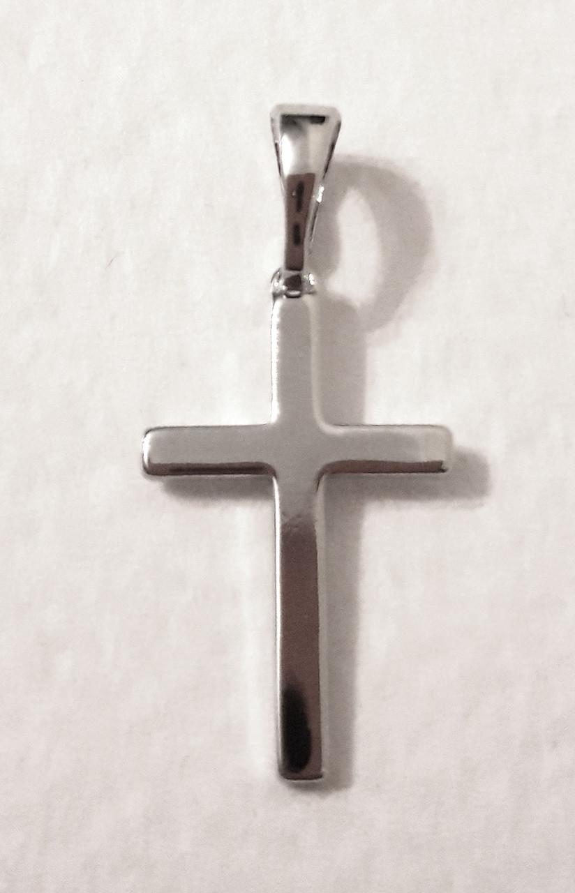 Кулон ХР крестик маленький гладкий, родий