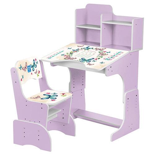 Детская регулируемая парта  фиолетовый с бабочками