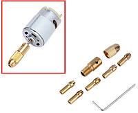 Электродвигатель для микродрели с цанговым патроном WLXY, 9-12В, 0.15А, цанги 6 шт