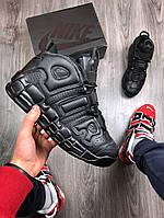 Мужские кроссовки в стиле Nike Air More Uptempo black, Реплика ААА, фото 1