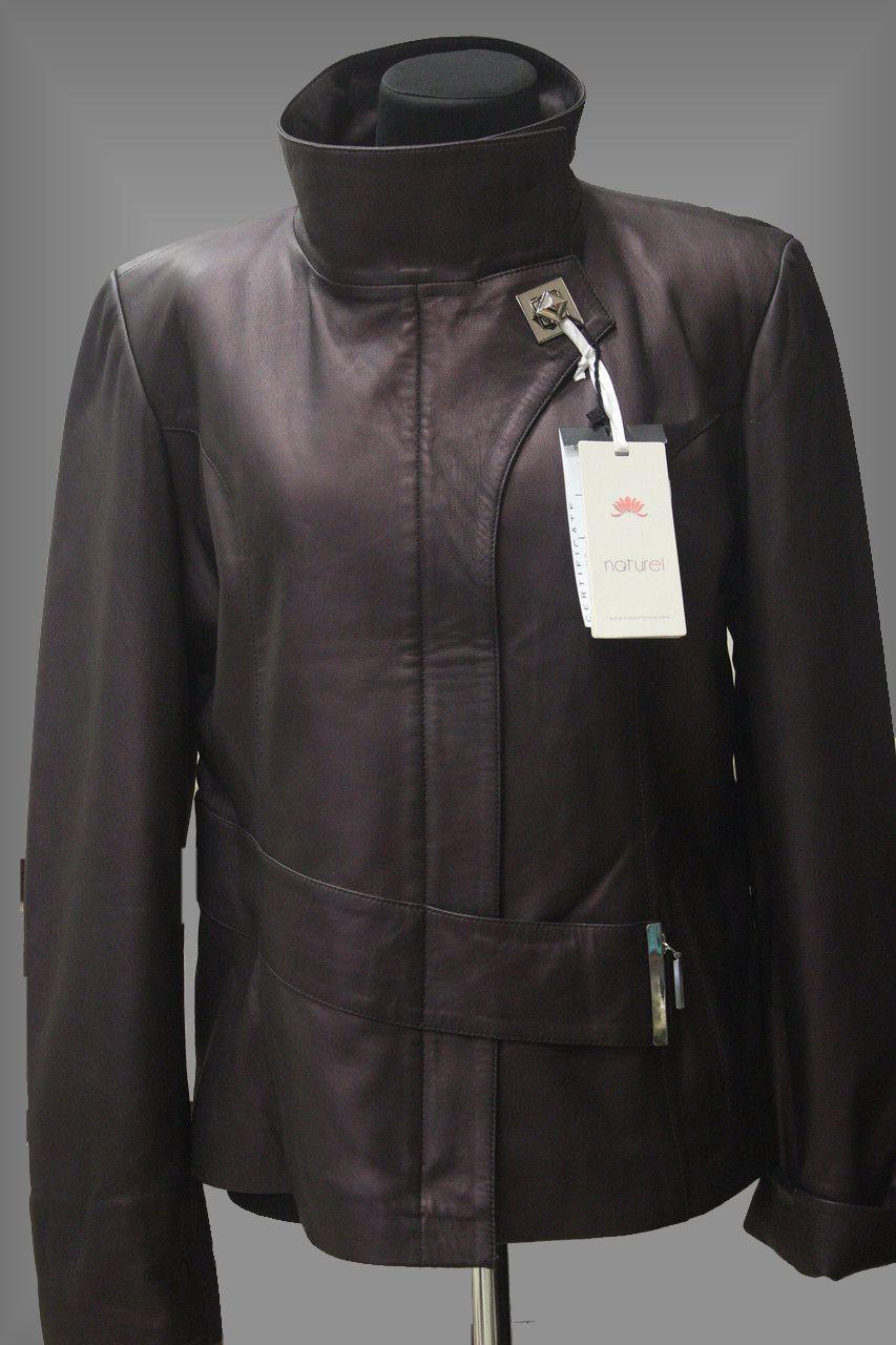 Куртка кожаная короткая приталенная