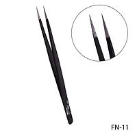 Пинцет для ресниц FN-11 прямой (черный) #S/V