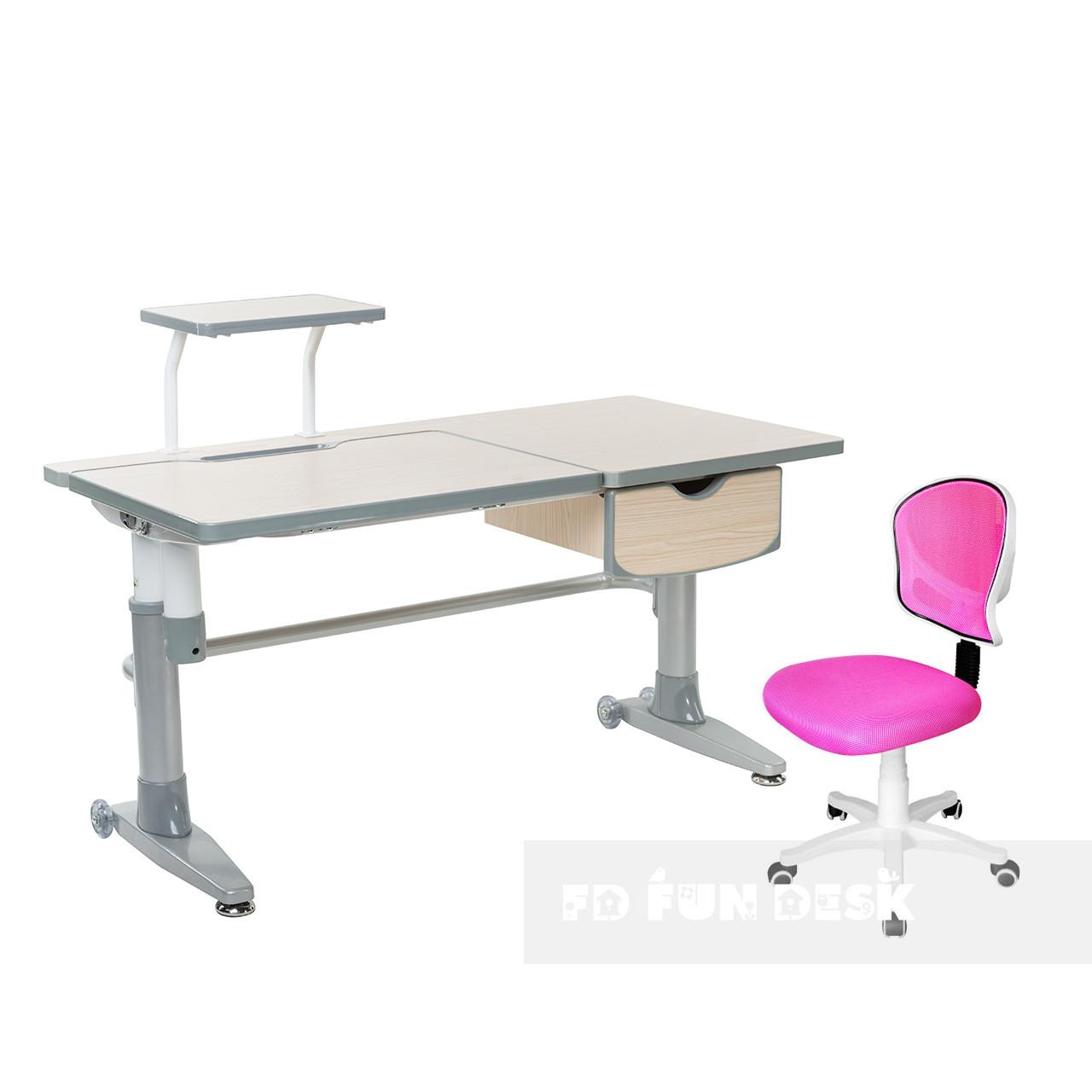 Комплект подростковая парта для школы Ballare Grey + детское регулируемое кресло LST6 Pink FunDesk