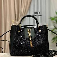 Женская сумка в стиле Yves Saint Laurent  черная с глитером черным